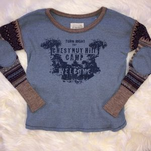 Free People We The Free Blue Thermal Mixed Sz S